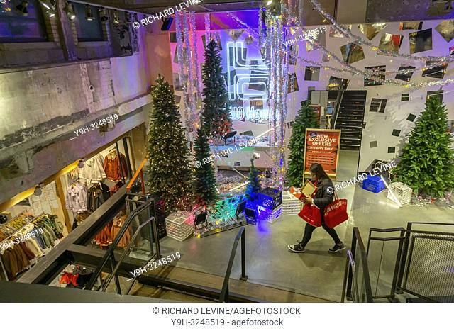 A Christmas display in an Urban Outfitters retail store in Herald Square in New York on Sunday, December 2, 2018