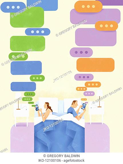 Couple lying in bed texting on smart phones and ignoring each other