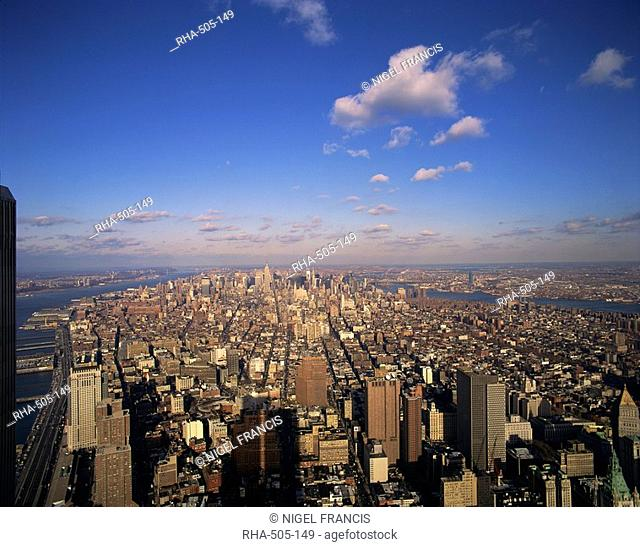 Aerial view over Manhattan skyline, looking uptown from the World Trade Centre, pre 11 September 2001, New York City, United States of America, North America