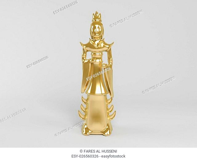 3d rendering of golden statue painted with gold in on a white scene background