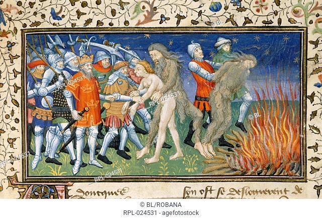 Alexander burns a wild man, Miniature only Alexander the Great burns a wild man. Image taken from La Vraye Histoire du Bon Roy Alixandre The Alexander Romance...