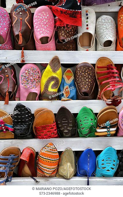 Slippers in a Tarifa shop, Cadiz, Andalucia, Spain