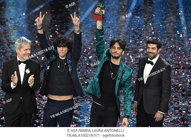 Claudio Baglioni, Michelle Hunziker, Pierfrancesco Favino and the winners Ermal Meta and Fabrizio Moro during Sanremo Italian Music Festival, Sanremo
