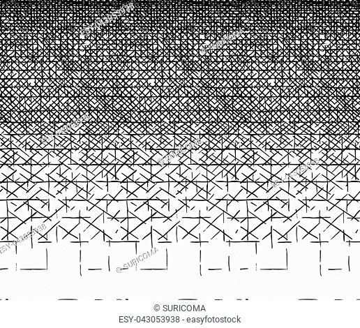 Smooth gradient ink texture. Horizontal seamless pattern drawn by technical pen hatching. vector illustration