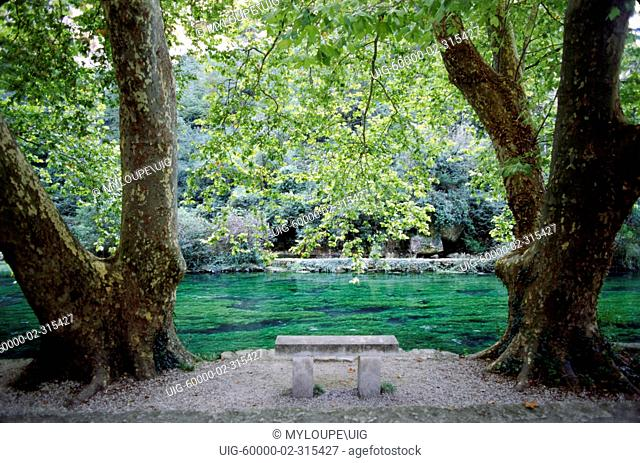 River park at the FOUNTAINE DE VAUCLUSE, one of the most powerful springs in the world -PROVENCE, FRANCE