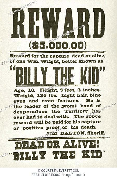 Wanted poster for Billy the Kid 1859-1881 offering $5000 dollars reward, probably issued in New Mexico territory, after he killed two deputies