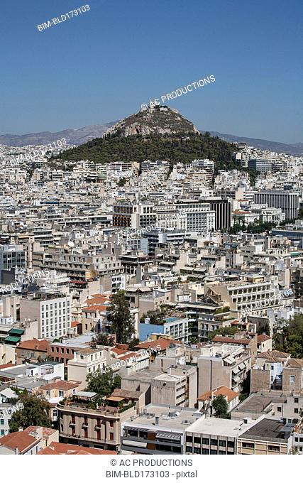 Aerial view of Athens cityscape and mountain, Attica, Greece