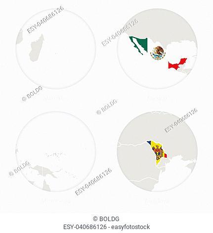Mauritius, Mexico, Micronesia, Moldova map contour and national flag in a circle. Vector Illustration