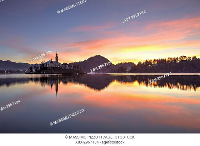 Lake Bled and the small island in the middle at sunrise, Bled, Slovenia