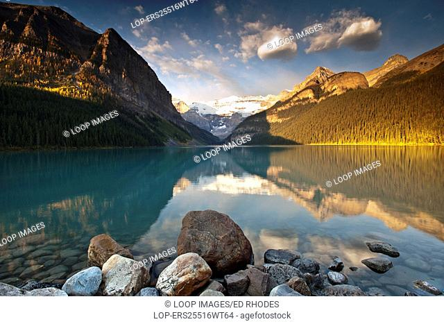 Sunrise on Lake Louise backed by the Victoria Glacier in the Canadian Rockies