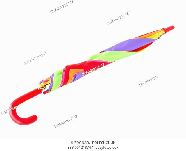 closed umbrella isolated on a white background