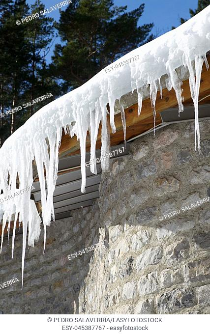 Icicles Canfranc Valley, Pyrenees, Huesca Province, Aragon, Spain