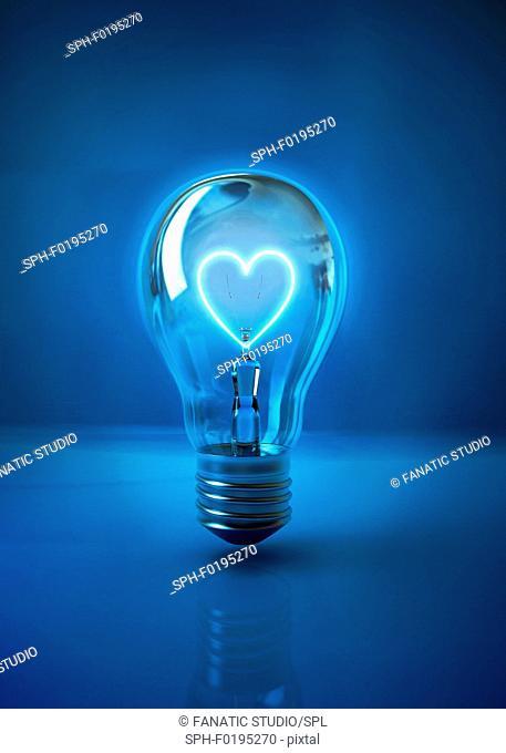 Illustration of heart shaped filament in light bulb