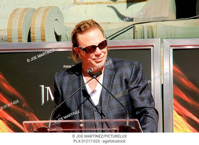 Mickey Rourke at the Hand and Footprint Ceremony honoring him in Cement at Grauman's Chinese Theatre in Hollywood, CA, October 31, 2011
