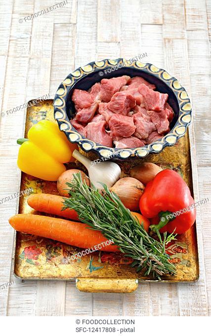 Ingredients for lamb goulash