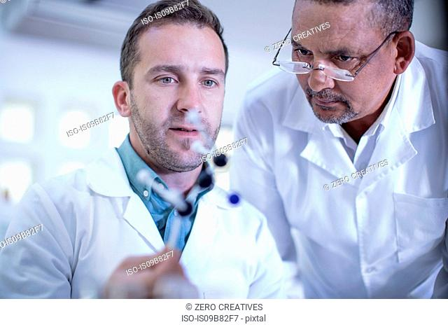 Laboratory workers looking at molecular model