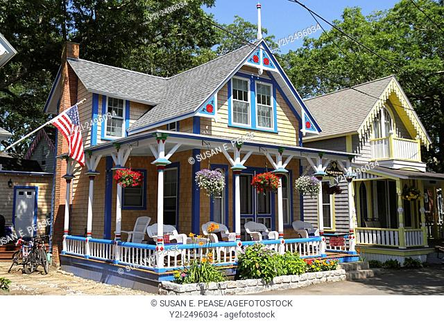 Gingerbread cottages on the grounds of the Martha's Vineyard Camp Meeting Association, Oak Bluffs, Martha's Vineyard, Massachusetts, United States