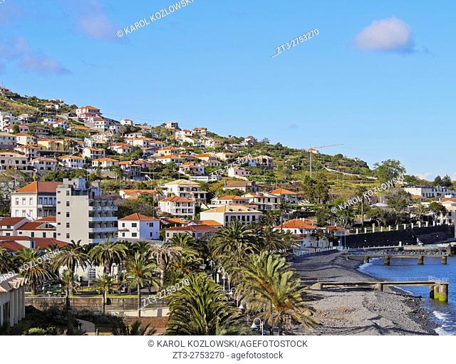 Portugal, Madeira, View of the stone beach in Santa Cruz.