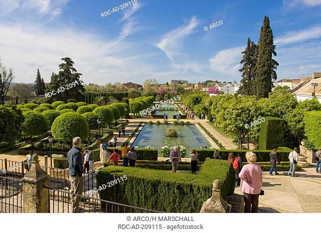 Gardens, Alcazar de los Reyes Cristianos, Cordoba, Andalusia, Spain