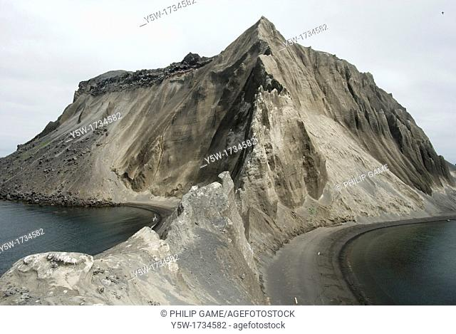Poluostov Vladimira, a cinder cone on the flank of Alaid Volcano, Atlasova Island, Kuril Islands, Russian Far East