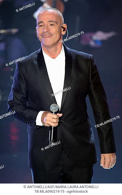 Singer Eros Ramazzotti during 69th Festival of the Italian Song, Sanremo final evening. Sanremo, Italy 09 Febr 2019
