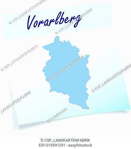 Map of vorarlberg as sticky note