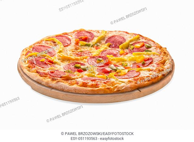 Pizza on wooden desk isolated on white background. For fast food restaurant design or fast food menu