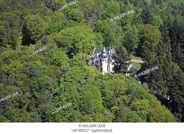 Aerial Photo of Schloss Hohenwehrda Castle, Hermann Lietz Schule Wehrda Boarding School, Haunetal Wehrda, Rhoen, Hesse, Germany