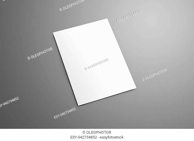 Universal blank A4, (A5) bi-fold brochure with soft realistic shadows isolated on gray background. The brochure is shows the backside cover
