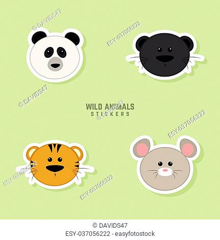 Abstract animals faces on a green background