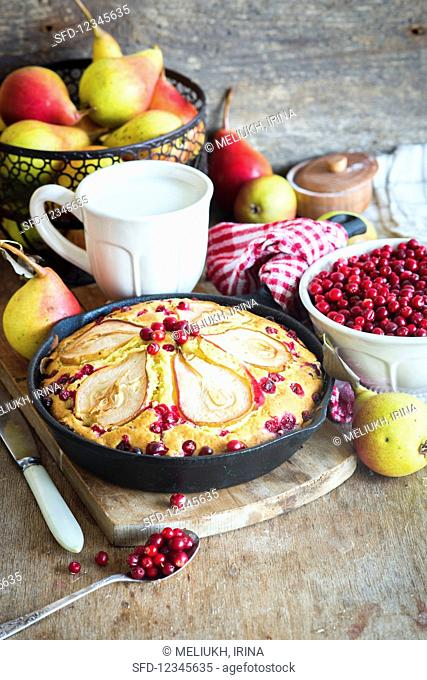Autumnal pear and cranberry cake