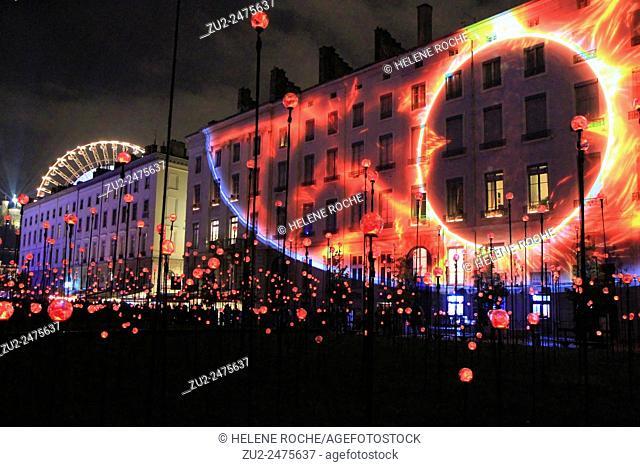 Festival of lights, place Antonin Poncet, Lyon, France
