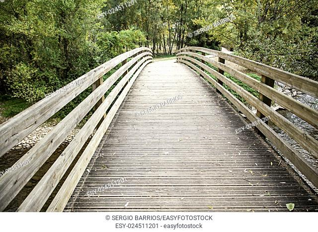 Wooden bridge in the forest, detail of a nature walk nature in Spain