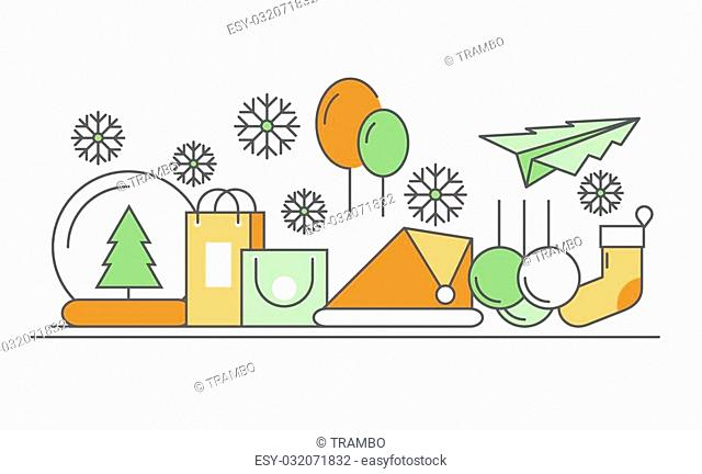 Vector modern thin line flat design of icons set. Christmas and happy new year background