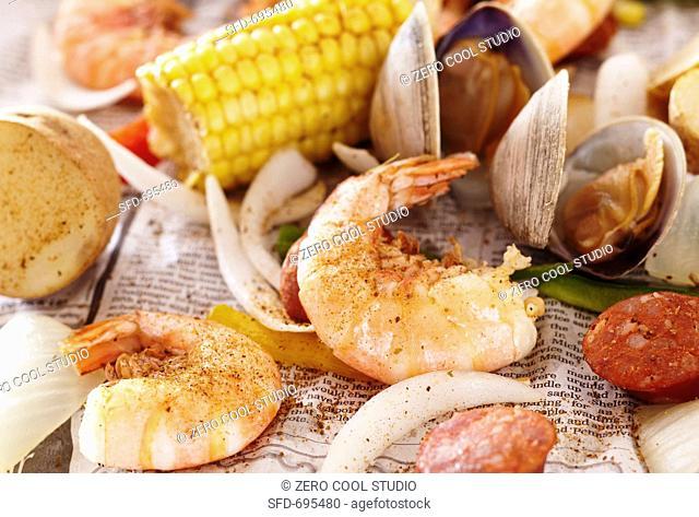 Shrimp Boil on Newspaper