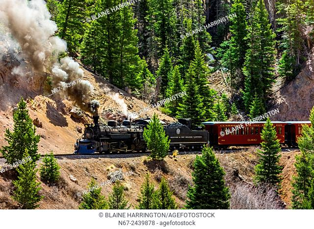 The Cumbres & Toltec Scenic Railroad train pulled by a steam locomotive on the 64 mile run between Antonito, Colorado and Chama, New Mexico