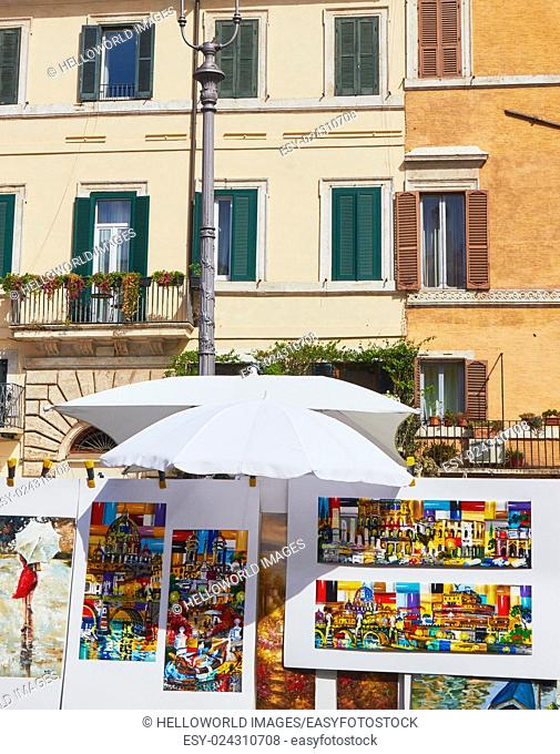 Paintings for sale, Piazza Navona, Rome, Lazio, Italy, Europe