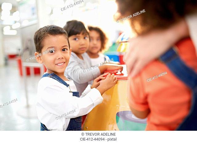 Portrait cute kids in science center