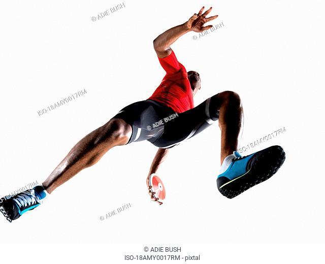 Male athlete preparing to throw discus