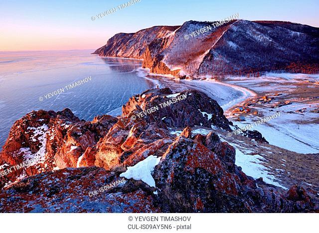 Elevated view from Uzury village, Baikal Lake, Olkhon Island, Siberia, Russia