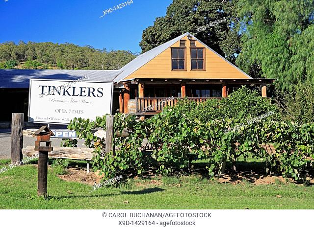 Entrance sign to cellar door Tinklers Wines, Pokolbin, Hunter Valley, New South Wales, Australia