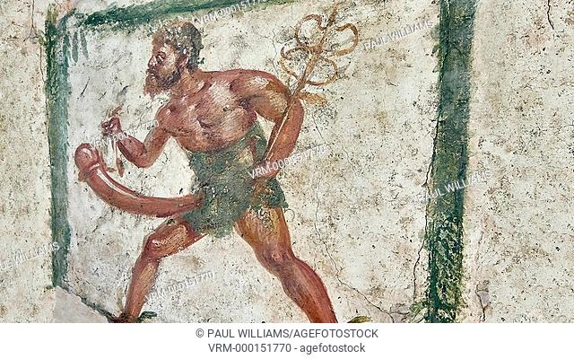 Roman Erotic Fresco from Pompeii, 1st cent AD , workshop Banner showing Mercury with a massive phalus , Secret Museum or Secret Cabinet