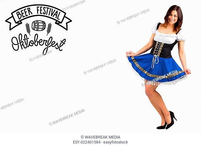 Composite image of pretty oktoberfest girl spreading skirt