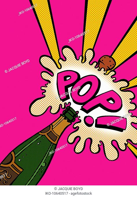 Champagne cork exploding with pop sound effect