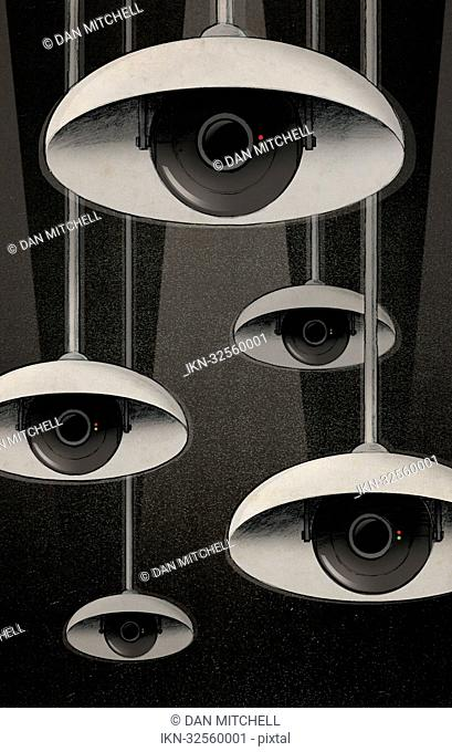 CCTV eyes under lampshades peeking