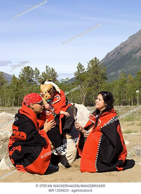 Carcross-Tagish First Nation people, family celebrating National Aboriginal Day in traditional outfit, Tlingit-Athapaskan, Indians, Carcross, Yukon Territory
