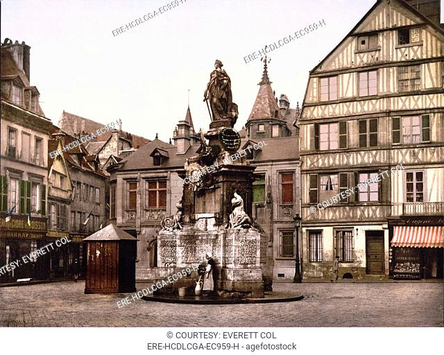 Joan of Arc, Place de la Pucelle, Rouen, France, photochrom, 1890-1900