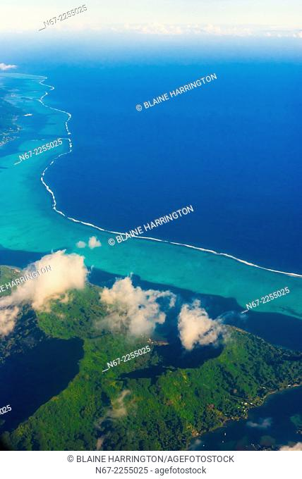 Aerial view, island of Tahaa, French Polynesia