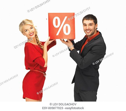 bright picture of man and woman with percent sign