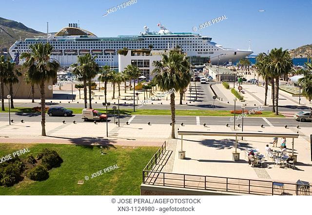 Cityscape, port, Cartagena, Costa Calida, Murcia, Spain